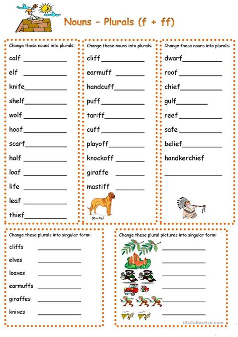 plurals with f ff fe worksheet free esl printable