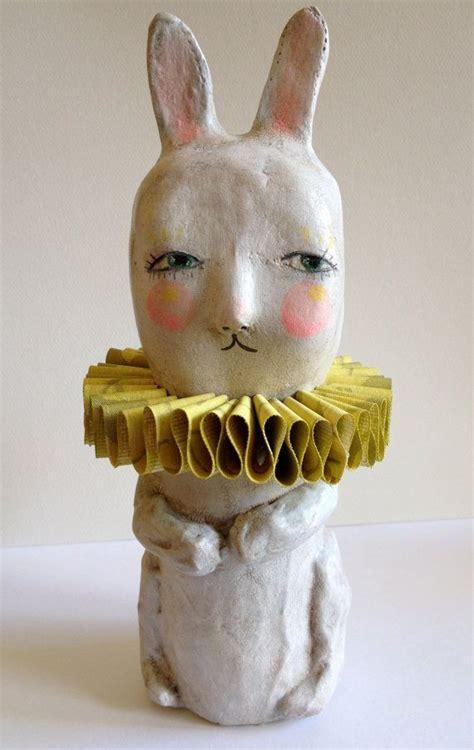 circus bunny paper mache sculpture  sarah hand paper