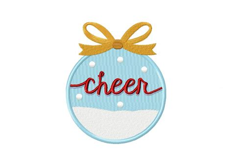 christmas word ornament cheer machine embroidery design