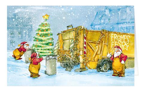 weihnachtskarte branchenkarte muellabfuhr entsorgung frohes
