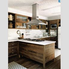 Modern Kitchen With Raw Wood Cabinets, White Back Splash