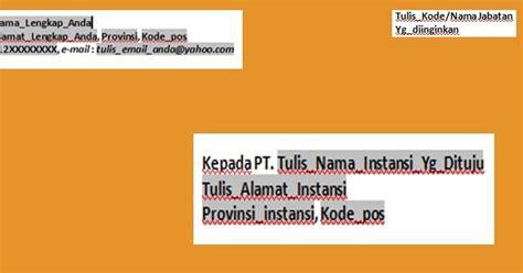 contoh format penulisan alamat surat lamaran kerja
