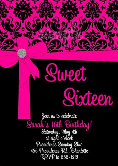 pink black sweet  birthday invitations quinceanera