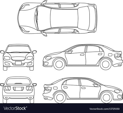 Outline Sedan Car Drawing Different Royalty Free Vector