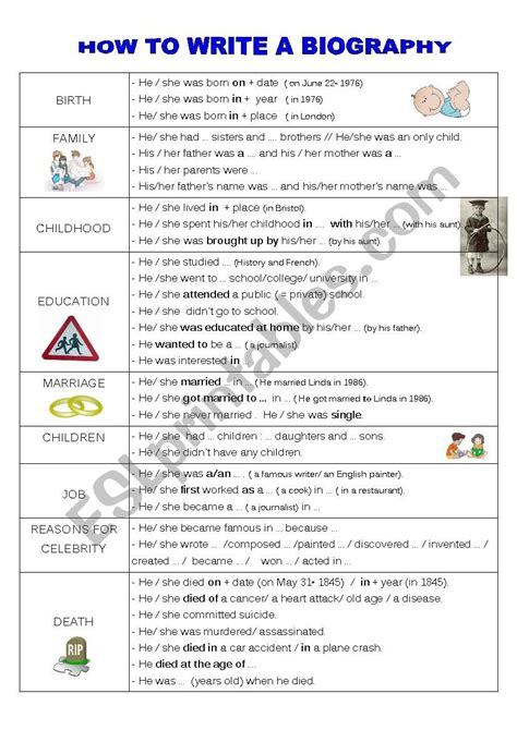 how to write a biography esl worksheet by faurfab