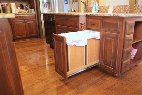 kitchen trash can storage hometalk diy pull out trash and recyling bin 6328