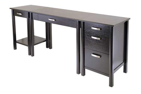 long wooden computer desk simple modern computer desk design with black accent