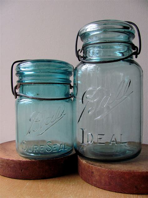 green jars value ball jars ideal sure seal blue green glass canning by hilltoptimes