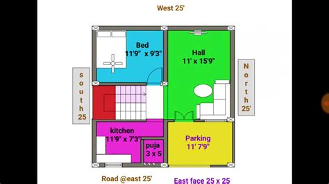 1bhk 24 × 25 East face duplex house plan map YouTube