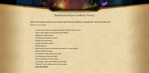 Hearthstone Feedback Survey Details Top 5 Plays Of The