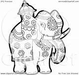 Elephant Coloring Outline Clipart Pageant Royalty Illustration Elephants Rf Lal Perera India Clipartof Background Version sketch template