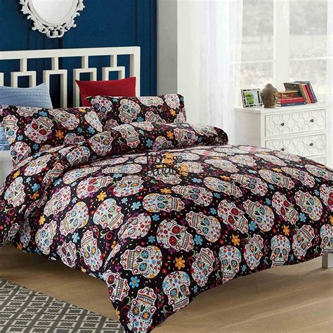 skull duvet cover halloween sugar skull bedding set