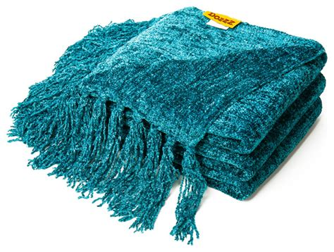 dozzz decorative chenille throw blanket teal transitional throws  bnd talented buyer