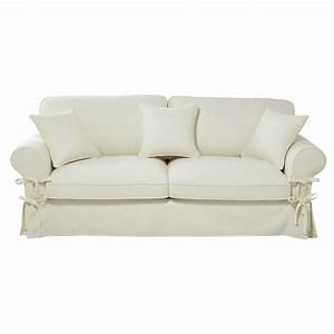 Sofa Aus Paletten Matratze : ausziehbares 3 4 sitzer sofa aus baumwolle elfenbein ~ Michelbontemps.com Haus und Dekorationen