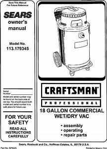 Craftsman 113179345 User Manual Wet  Dry Vac Manuals And