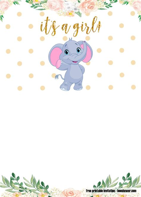 printable elephant baby shower invitations templates