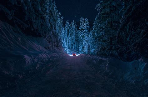 Bulgaria Kyustendil winter road snow forest night car ...