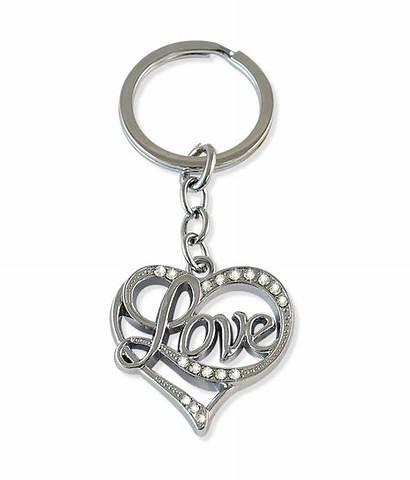 Heart Metal Sarah Silver Key Chain Installation