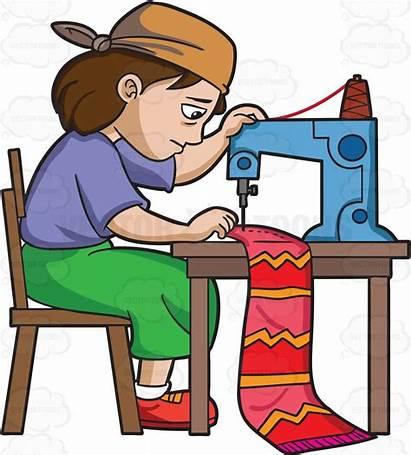 Factory Clipart Sweatshop Worker Cartoon Sewing Labor