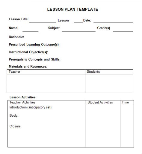weekly lesson plan samples  google docs ms