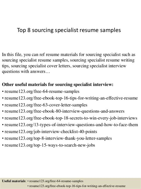 top 8 sourcing specialist resume sles