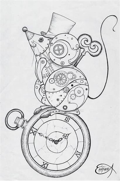 Steampunk Drawing Clockwork Mouse Deviantart Wip Coloring