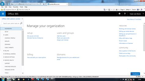 Office 365 Dashboard by Setting Up A New Office 365 Tenant Nero Blanco End To