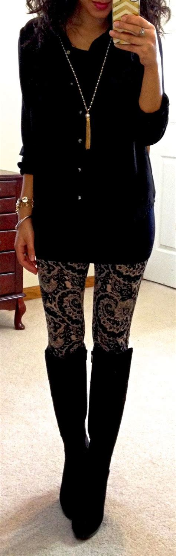 Long black blouse/black and gold leggings/high boots....Hello Gorgeous!   Fashion   Pinterest ...