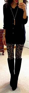 Long black blouse/black and gold leggings/high boots....Hello Gorgeous! | Fashion | Pinterest ...