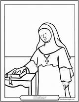 Nun Catholic Coloring Saint Pages Saints Sister Nuns Sisters Female Catechism Dominican Baltimore Worksheets Carmelite Saintanneshelper sketch template
