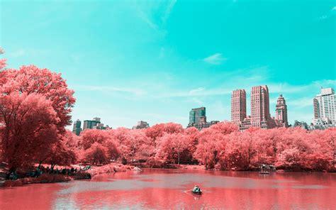 wallpaper central park infrared lake manhattan