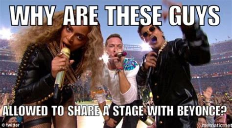 Chris Martin Meme - super bowl 50 sees twitter erupt with memes as chris martin gets sidelined daily mail online