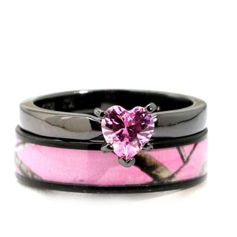 Black Plated Pink Heart Cz Camo Wedding Rings Bridal