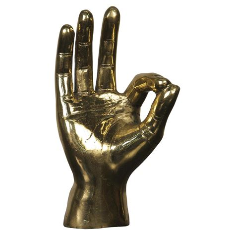 Ok Sign Industrial Loft Decorative Brass Hand Sculpture