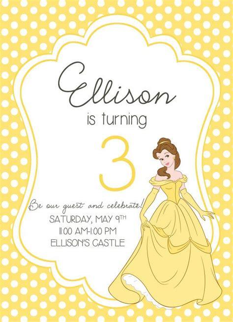 beauty   beast princess birthday party invitation