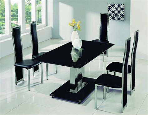 savio large glass chrome dining room table  chairs set