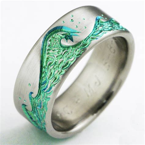 eastbourne 1 b titanium ring with waves titanium wedding rings handcrafted by exotica jewelry