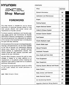 1991 Hyundai Excel Original Repair Shop Manual 91