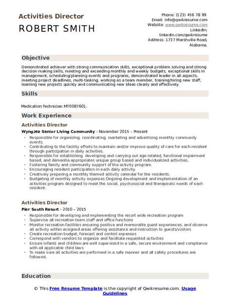 Activities Resume Template by Activities Director Resume Sles Qwikresume
