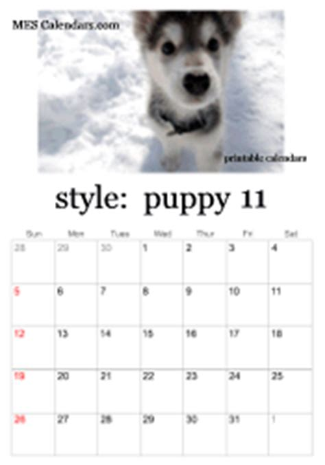 printable puppy calendars templates  calendars
