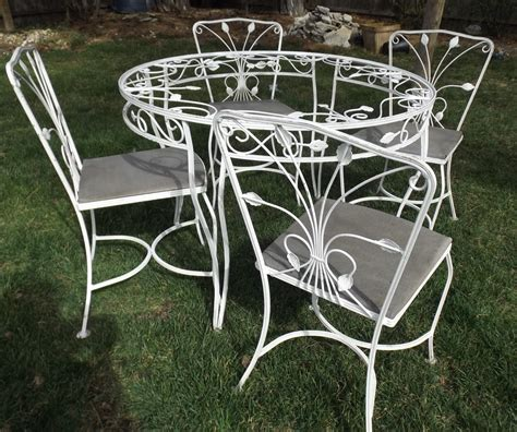 vintage wrought iron white garden patio table 4 chairs