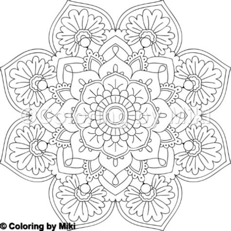 flower mandala coloring page  coloring  miki