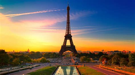 hd france paris eiffel tower sunset wallpaper