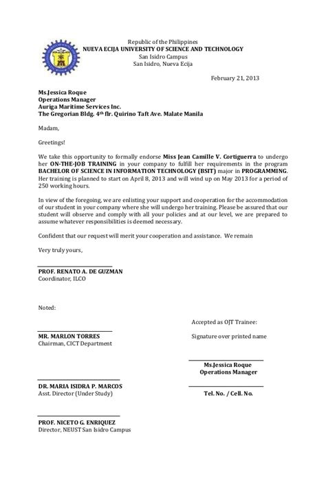 Endorsement letter