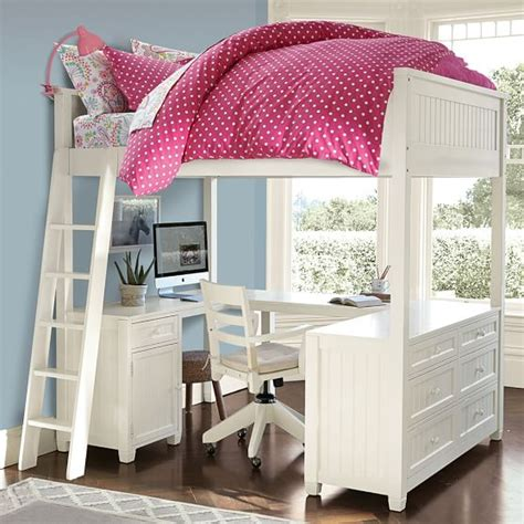 pottery barn loft bed with desk beadboard loft bed pbteen