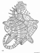 Coloring Seahorse Tribal Pages Pattern Adults Zentangle Printable Mandala Difficult Animals Template Sample Web sketch template