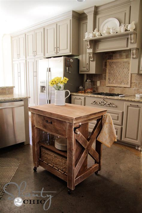 Ana White   Rustic X Small Rolling Kitchen Island   DIY