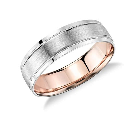 milgrain brushed inlay wedding ring in platinum and 18k rose gold 6mm blue nile