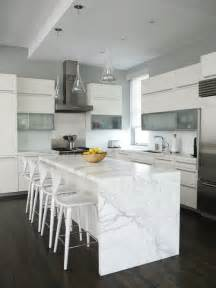 white kitchen island with top the granite gurus whiteout wednesday 5 white kitchens with quot waterfall quot islands