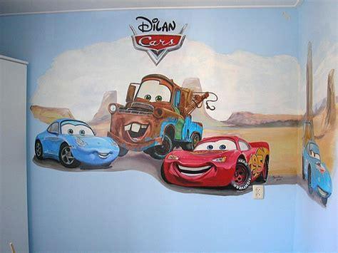 muurschildering kinderkamer cars wand en